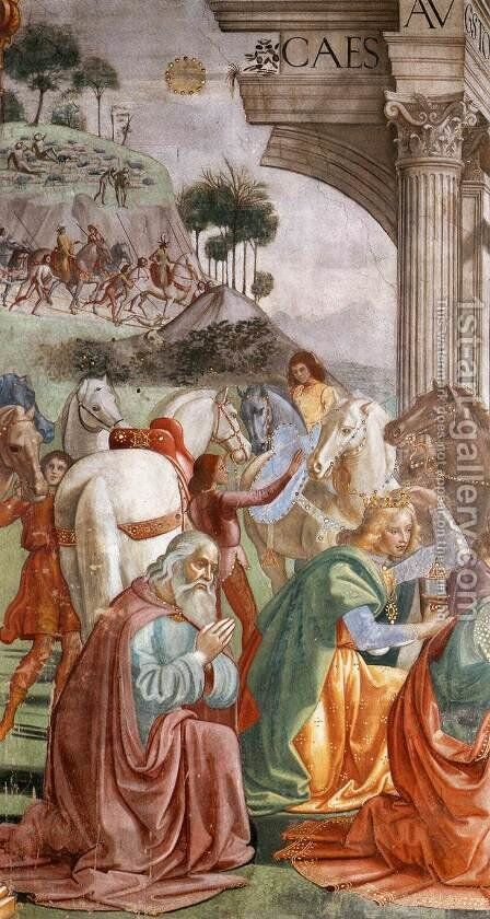 Adoration of the Magi (detail) by Domenico Ghirlandaio - Reproduction Oil Painting