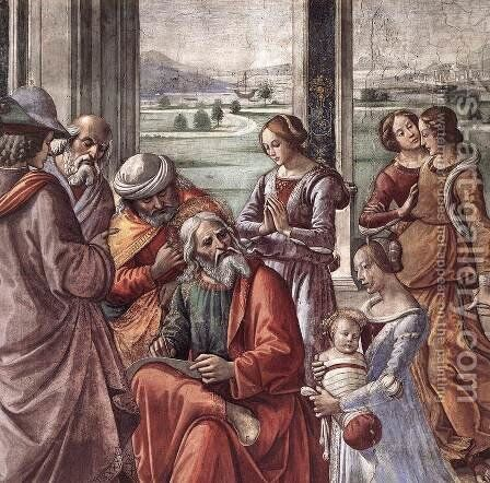 Zacharias Writes Down the Name of his Son (detail) by Domenico Ghirlandaio - Reproduction Oil Painting