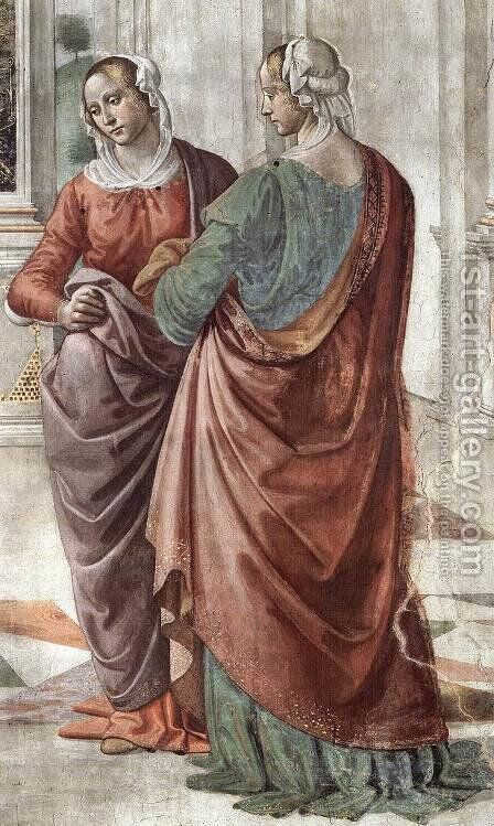 Zacharias Writes Down the Name of his Son (detail) 2 by Domenico Ghirlandaio - Reproduction Oil Painting