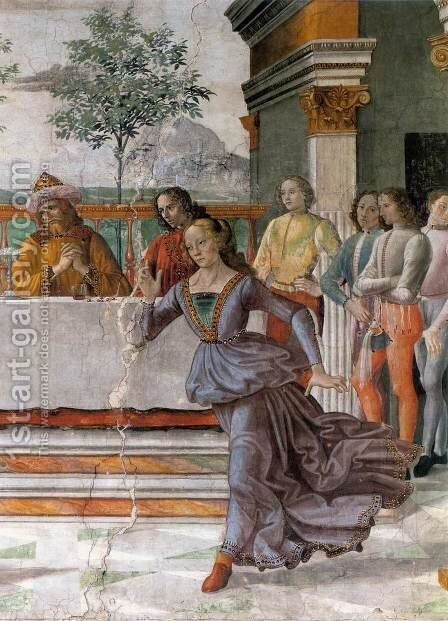 Herod's Banquet (detail) by Domenico Ghirlandaio - Reproduction Oil Painting