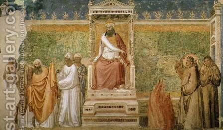 Scenes from the Life of Saint Francis 6. St Francis before the Sultan (Trial by by Giotto Di Bondone - Reproduction Oil Painting