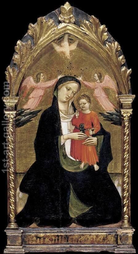 Madonna and Child with Two Angels by Giovanni del Ponte (also known as Giovanni di Marco) - Reproduction Oil Painting