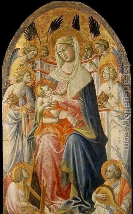 Virgin and Child with Angels by Giovanni del Ponte (also known as Giovanni di Marco) - Reproduction Oil Painting