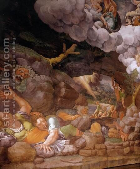 Fresco on the south wall (detail) by Giulio Romano (Orbetto) - Reproduction Oil Painting