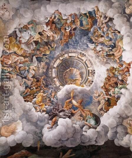 Vault The Assembly of Gods around Jupiter's Throne by Giulio Romano (Orbetto) - Reproduction Oil Painting