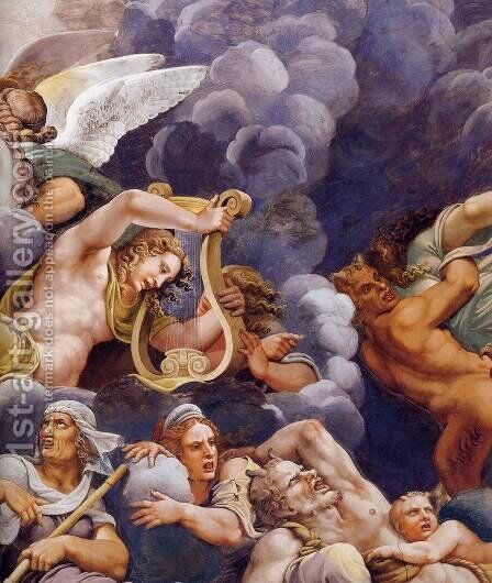 Vault The Assembly of Gods around Jupiter's Throne (detail) by Giulio Romano (Orbetto) - Reproduction Oil Painting