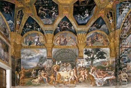 View of the Sala di Psyche (south wall) by Giulio Romano (Orbetto) - Reproduction Oil Painting