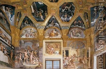 View of the Sala di Psyche (north wall) by Giulio Romano (Orbetto) - Reproduction Oil Painting