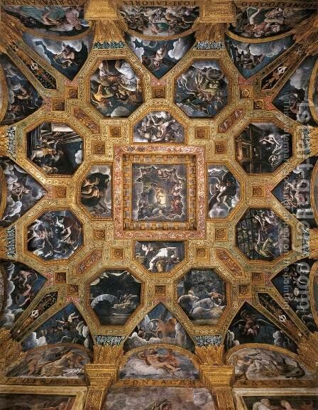 Vaulted ceiling by Giulio Romano (Orbetto) - Reproduction Oil Painting