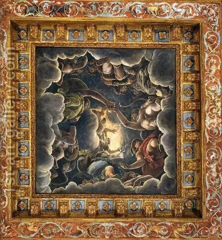 Vaulted ceiling (detail) by Giulio Romano (Orbetto) - Reproduction Oil Painting