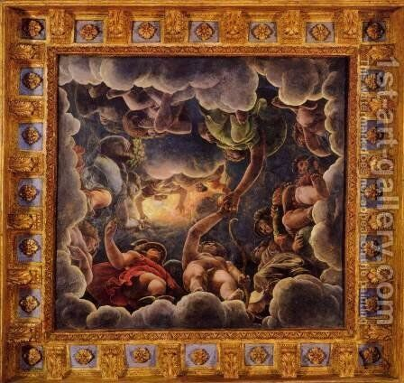 Vaulted ceiling (detail) 2 by Giulio Romano (Orbetto) - Reproduction Oil Painting