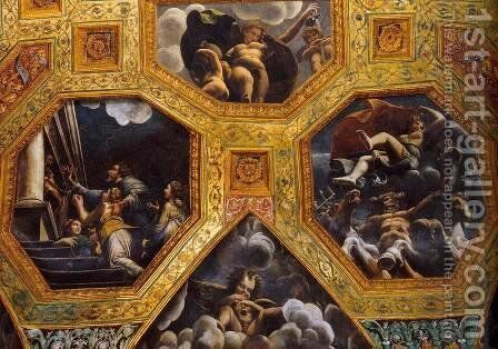 Vaulted ceiling (detail) 5 by Giulio Romano (Orbetto) - Reproduction Oil Painting