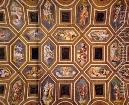 Ceiling decoration by Giulio Romano (Orbetto) - Reproduction Oil Painting