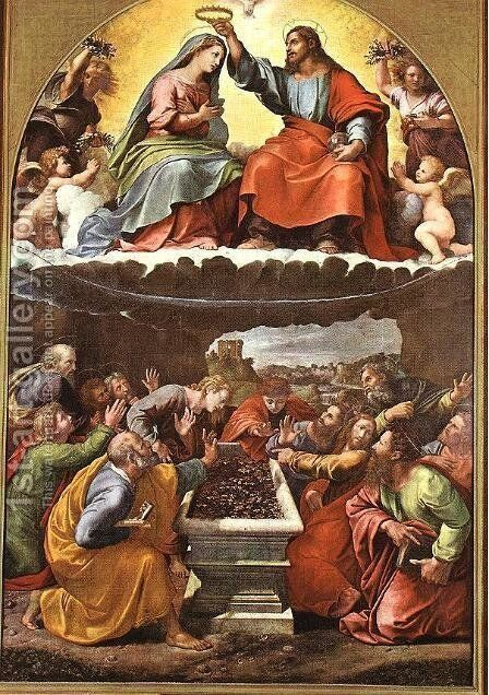 Coronation of the Virgin (Madonna of Monteluce) by Giulio Romano (Orbetto) - Reproduction Oil Painting