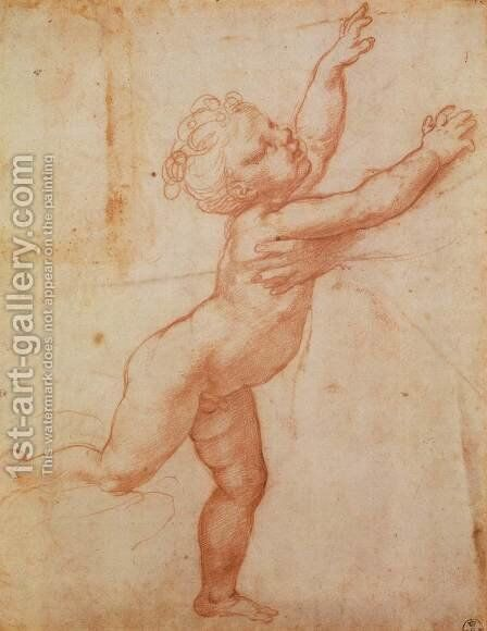 Nude Child with Open Arms by Giulio Romano (Orbetto) - Reproduction Oil Painting