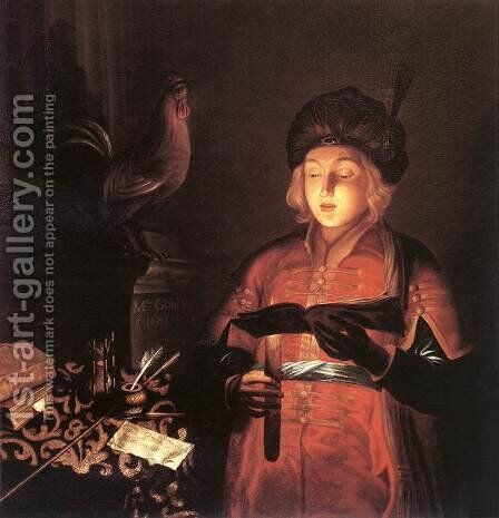 Young Man with a Candle 2 by Michel Gobin - Reproduction Oil Painting
