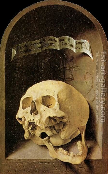 Trompe-l'oeil Skull by Jan (Mabuse) Gossaert - Reproduction Oil Painting