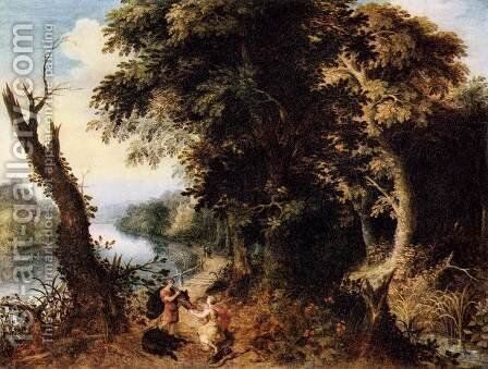 Landscape with Diana Receiving the Head of a Boar by Abraham Govaerts - Reproduction Oil Painting