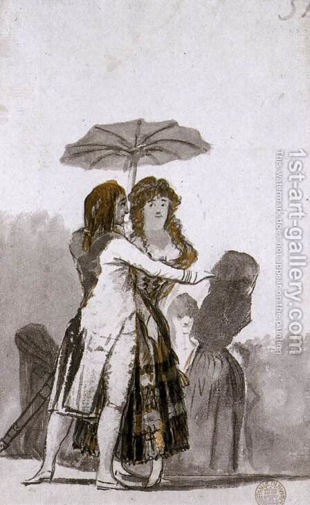 Couple with Parasol on the Paseo 2 by Goya - Reproduction Oil Painting