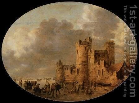 Skaters in front of a Medieval Castle by Jan van Goyen - Reproduction Oil Painting