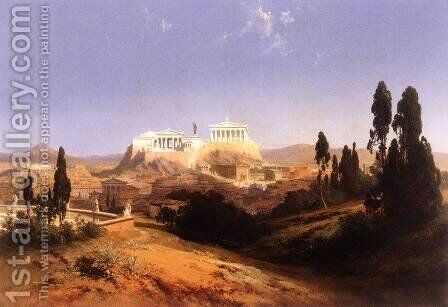 View of Athens by Carl Georg Anton Graeb - Reproduction Oil Painting