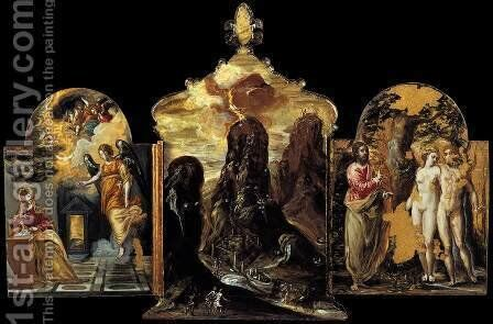The Modena Triptych (back panels) 2 by El Greco - Reproduction Oil Painting