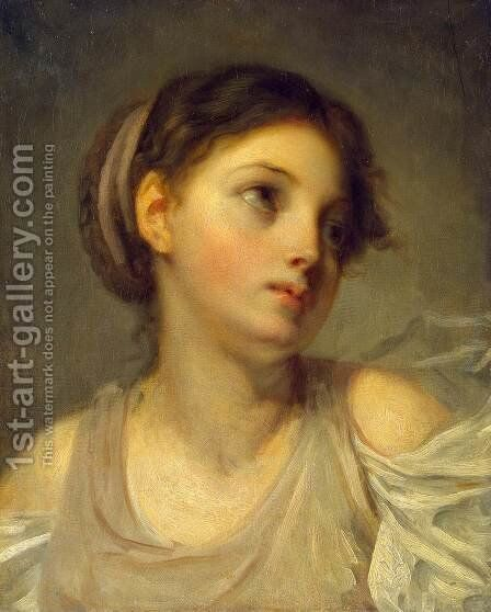 Young Girl in a Lilac Tunic by Jean Baptiste Greuze - Reproduction Oil Painting