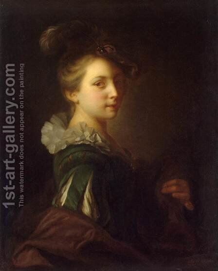 Young Woman in Theatrical Costume by Jean-Alexis Grimou - Reproduction Oil Painting