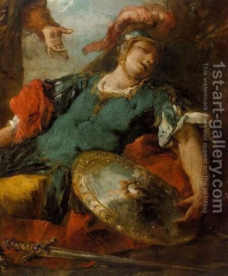 Herminia and Vaprino Find the Wounded Tancred (detail) by Giovanni Antonio Guardi - Reproduction Oil Painting