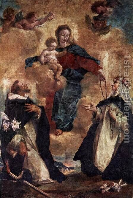 Virgin and Child with Sts Dominic and Rosa of Lima by Giovanni Antonio Guardi - Reproduction Oil Painting