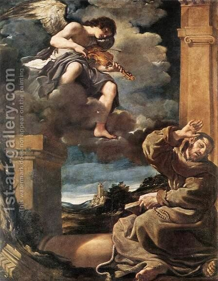 St Francis with an Angel Playing Violin by Guercino - Reproduction Oil Painting