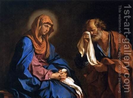 St Peter Weeping before the Virgin by Guercino - Reproduction Oil Painting