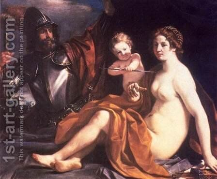 Venus, Mars and Cupid by Guercino - Reproduction Oil Painting