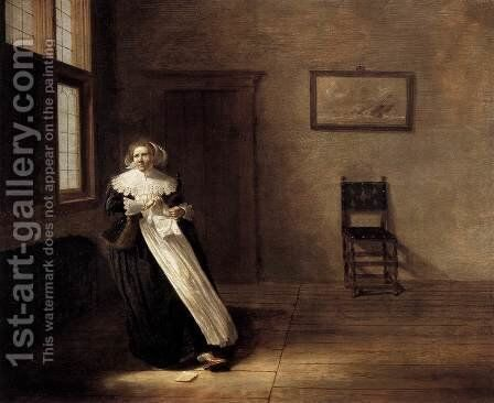 Woman Tearing a Letter by Dirck Hals - Reproduction Oil Painting