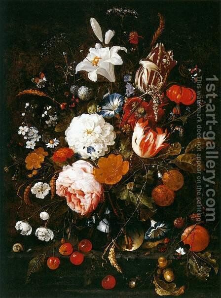 Still-Life with Flowers in a Glass Vase and Fruit by Jan Davidsz. De Heem - Reproduction Oil Painting