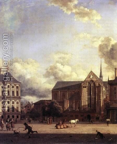 Dam Square, Amsterdam 2 by Jan Van Der Heyden - Reproduction Oil Painting