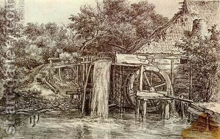 Watermill 2 by Meindert Hobbema - Reproduction Oil Painting