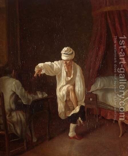 Voltaire's Morning by Jean Huber - Reproduction Oil Painting