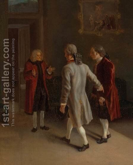 Voltaire Welcoming his Guests by Jean Huber - Reproduction Oil Painting
