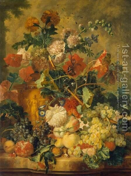 Flowers and Fruit 2 by Jan Van Huysum - Reproduction Oil Painting
