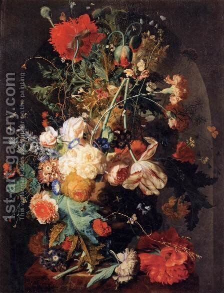Vase of Flowers in a Niche by Jan Van Huysum - Reproduction Oil Painting