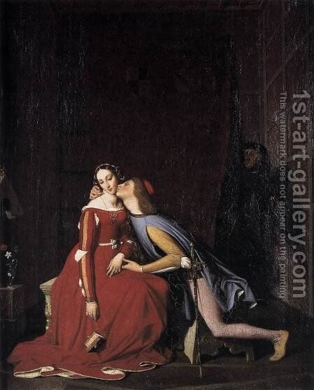 Paolo and Francesca 2 by Jean Auguste Dominique Ingres - Reproduction Oil Painting