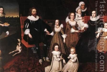 Sir Thomas Lucy and his Family 2 by Cornelius Janssens (Johnson) Ceulen - Reproduction Oil Painting