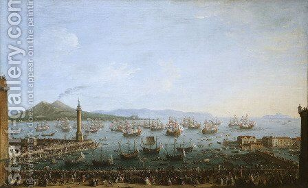 Arrival of Charles III in Naples 2 by Antonio Joli - Reproduction Oil Painting