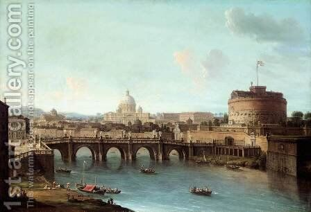 Rome View of the Tiber by Antonio Joli - Reproduction Oil Painting