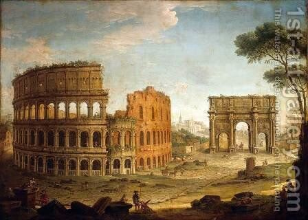 Rome View of the Colosseum and The Arch of Constantine 2 by Antonio Joli - Reproduction Oil Painting