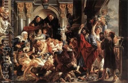 Christ Driving the Merchants from the Temple 2 by Jacob Jordaens - Reproduction Oil Painting