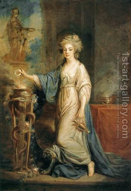 Portrait of a Woman as a Vestal Virgin by Angelica Kauffmann - Reproduction Oil Painting