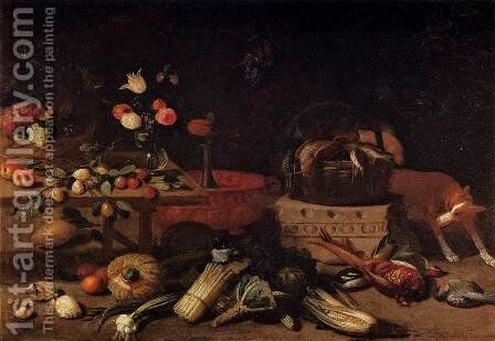 Interior of a Kitchen with a Dog by Jan van Kessel - Reproduction Oil Painting