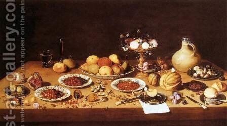 Still-Life on a Table with Fruit and Flowers by Jan van Kessel - Reproduction Oil Painting